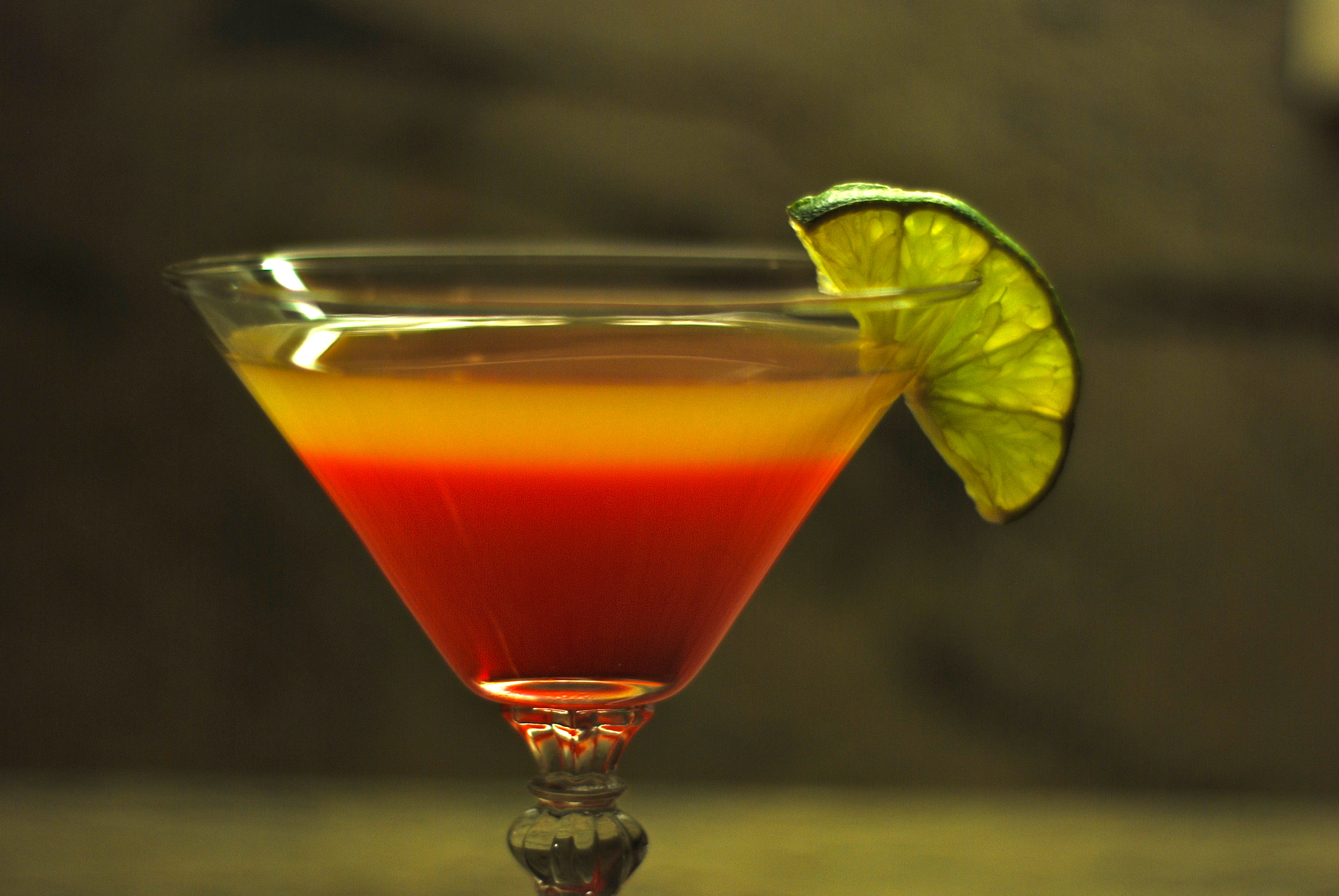 a red and yellow cocktail