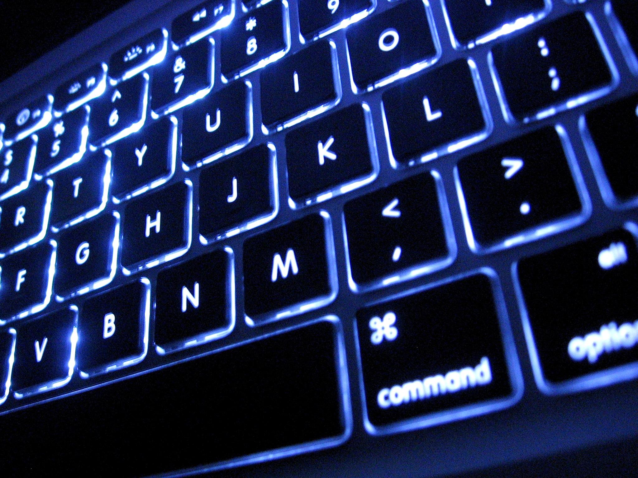 a keyboard glowing blue