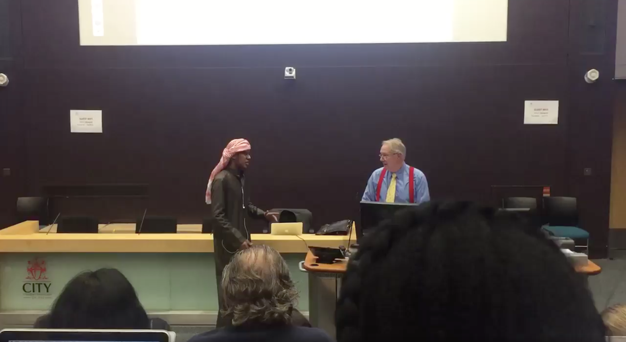 """Roy Greenslade is confronted by the """"prince"""" during a lecture"""