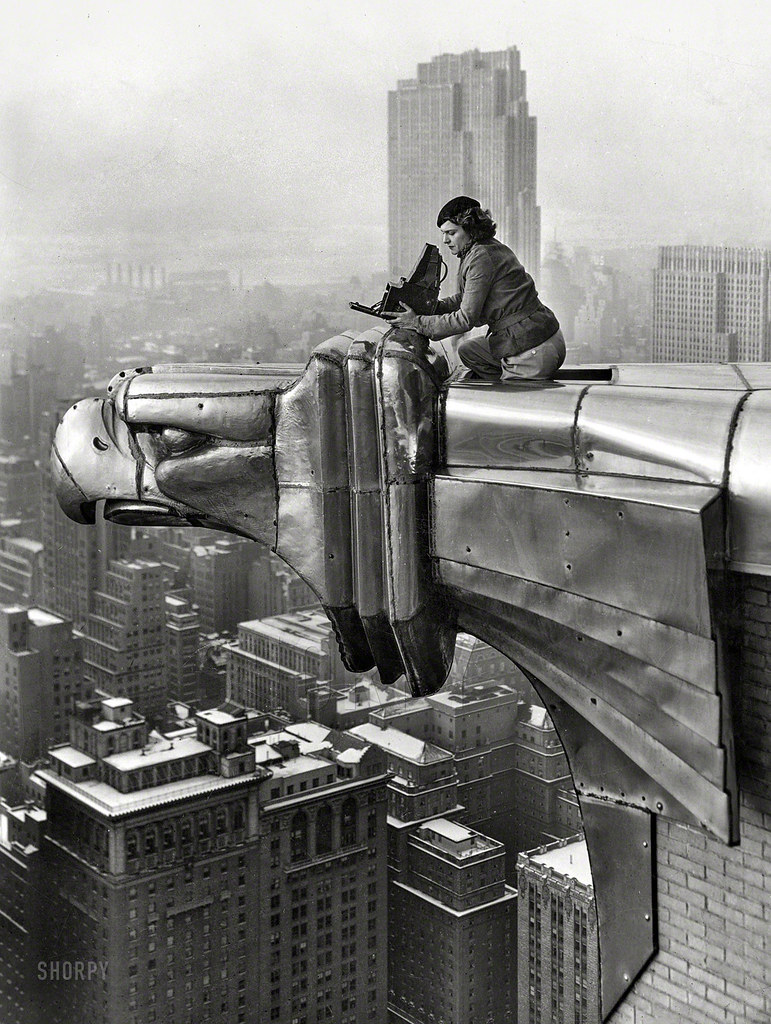 Margaret Bourke-White on the roof of the Chrysler building, NYC.