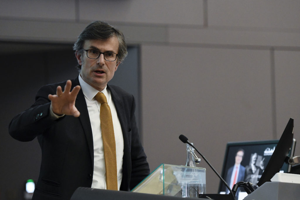 Robert Peston, Political Editor of ITV News, delivers the Hugh Cudlipp lecture at the City University, Central London.