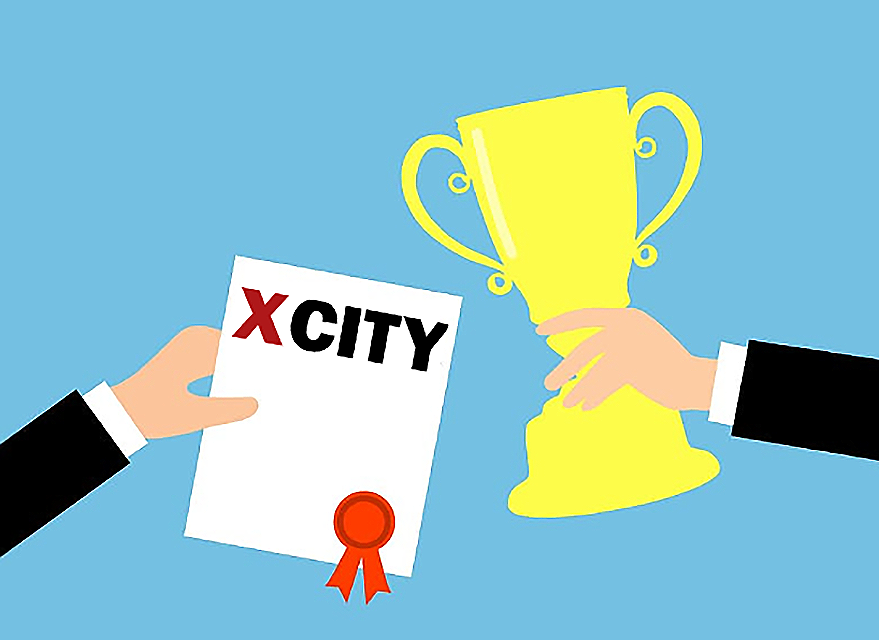 Illustration of one hand holding yellow trophy, other hand holding XCity certificate